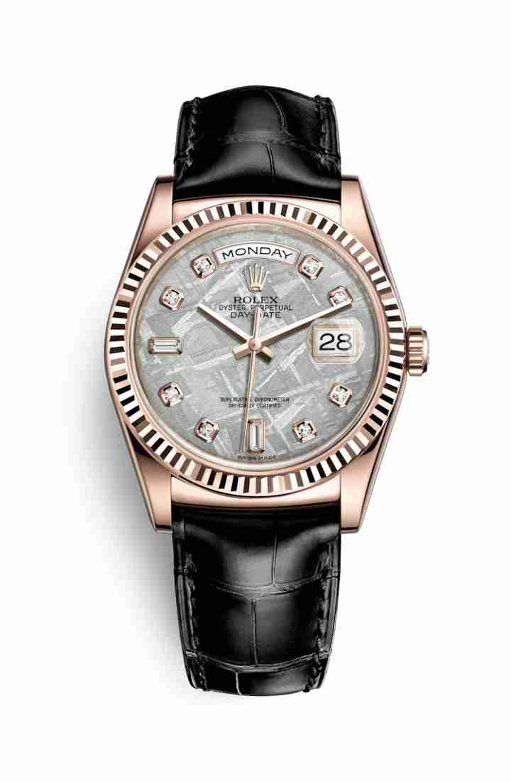 Rolex Day-Date 36 Everose gold 118135 Meteorite diamonds Watch Replica