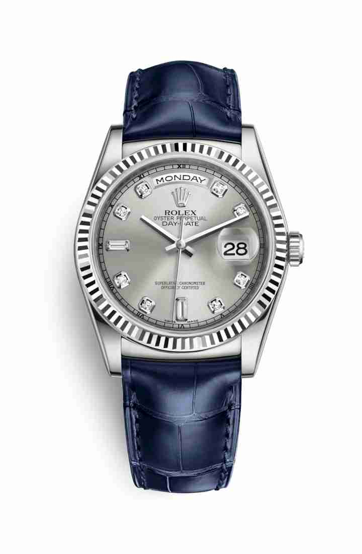 Rolex Day-Date 36 118139 Silver diamonds Watch Replica
