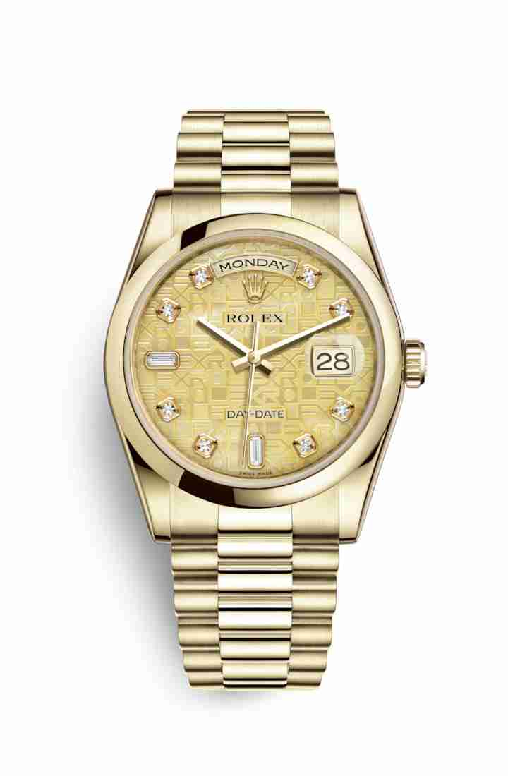 Rolex Day-Date 36 118208 Champagne mother-of-pearl Jubilee diamonds Watch Replica