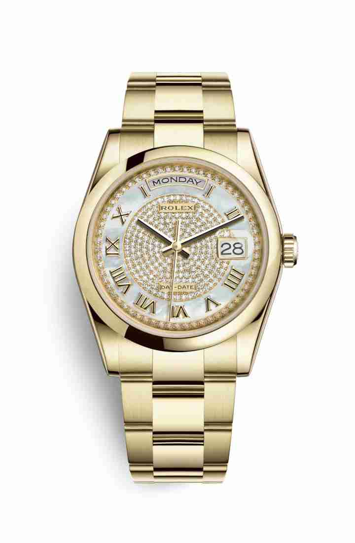 Rolex Day-Date 36 118208 White mother-of-pearl diamond paved Dial Watch Replica
