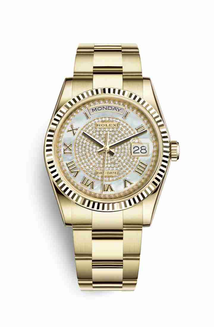 Rolex Day-Date 36 118238 White mother-of-pearl diamond paved Dial Watch Replica