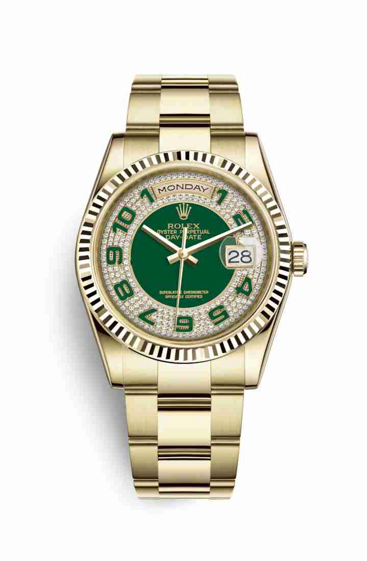 Rolex Day-Date 36 118238 Green diamond paved Dial Watch Replica
