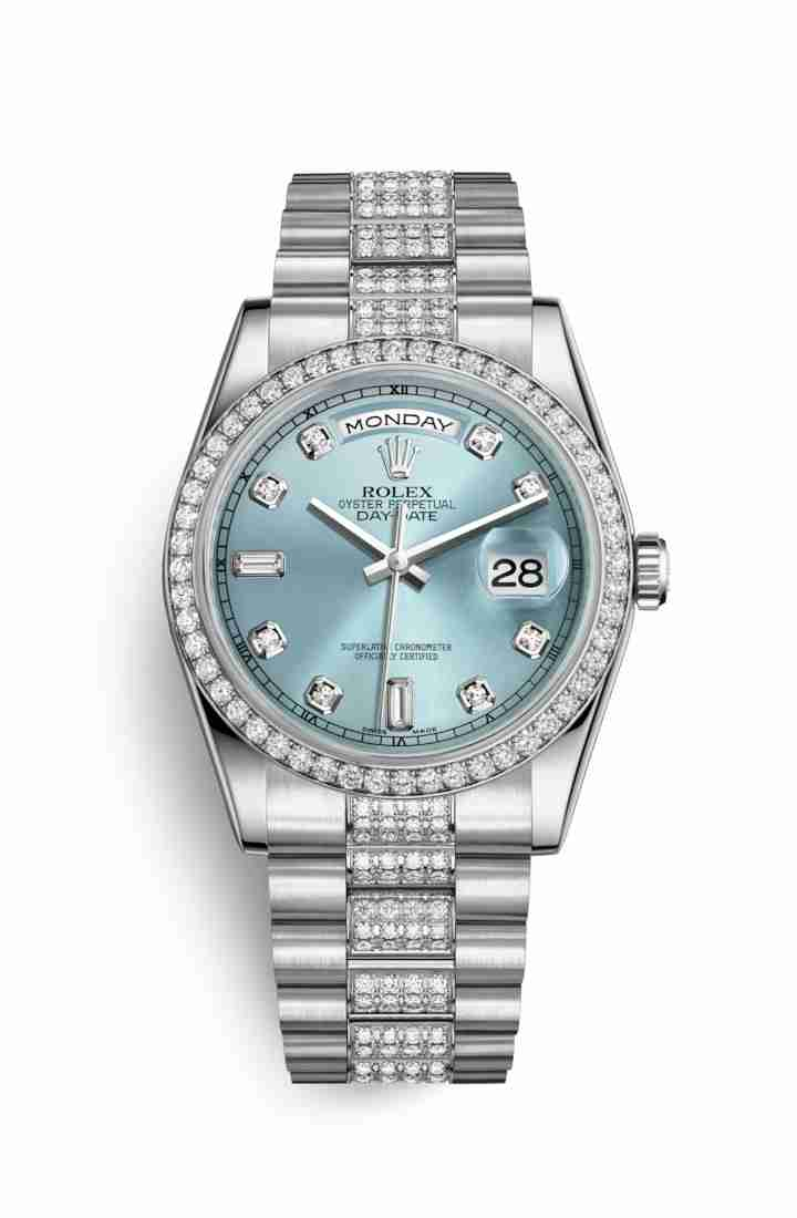 Rolex Day-Date 36 Platinum 118346 Ice blue diamonds Watch Replica