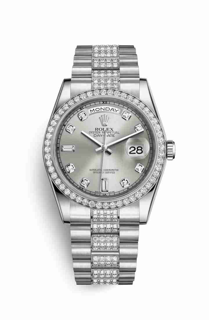 Rolex Day-Date 36 Platinum 118346 Silver diamonds Watch Replica