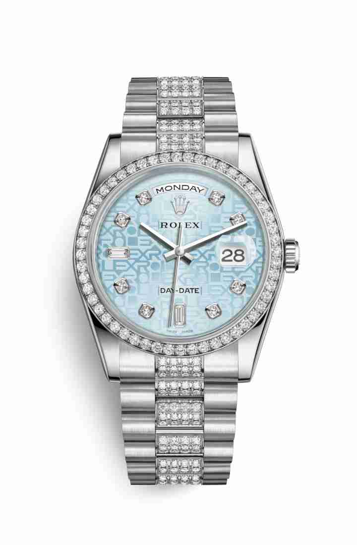 Rolex Day-Date 36 Platinum 118346 Ice blue Jubilee diamonds Watch Replica