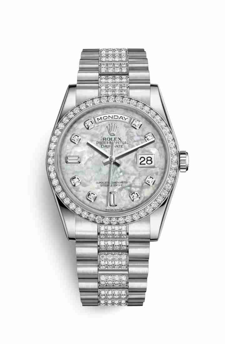 Rolex Day-Date 36 Platinum 118346 White mother-of-pearl diamonds Watch Replica