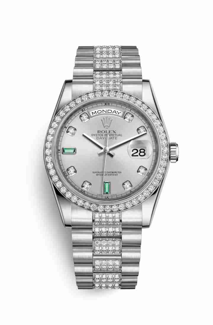 Rolex Day-Date 36 Platinum 118346 Rhodium diamonds emeralds Dial Watch Replica