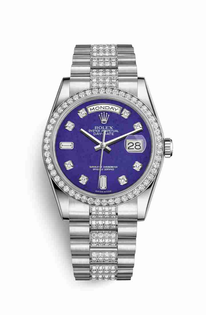 Rolex Day-Date 36 Platinum 118346 Lapis Lazuli diamonds Watch Replica