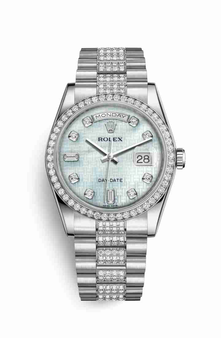 Rolex Day-Date 36 Platinum 118346 Platinum mother-of-pearl oxford motif diamonds Watch Replica