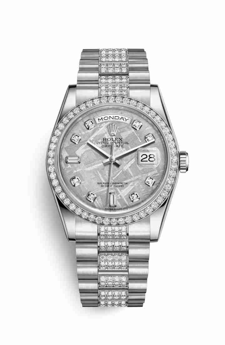 Rolex Day-Date 36 Platinum 118346 Meteorite diamonds Watch Replica