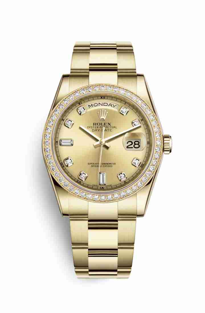 Rolex Day-Date 36 118348 Champagne diamonds Watch Replica