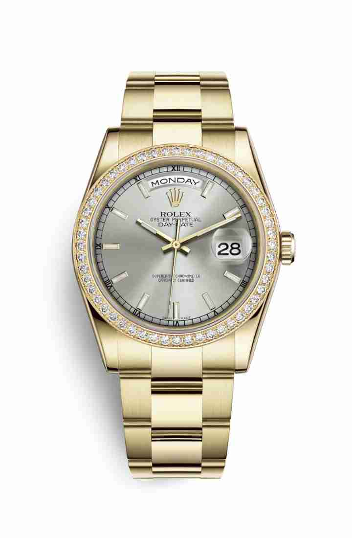 Rolex Day-Date 36 118348 Silver Dial Watch Replica