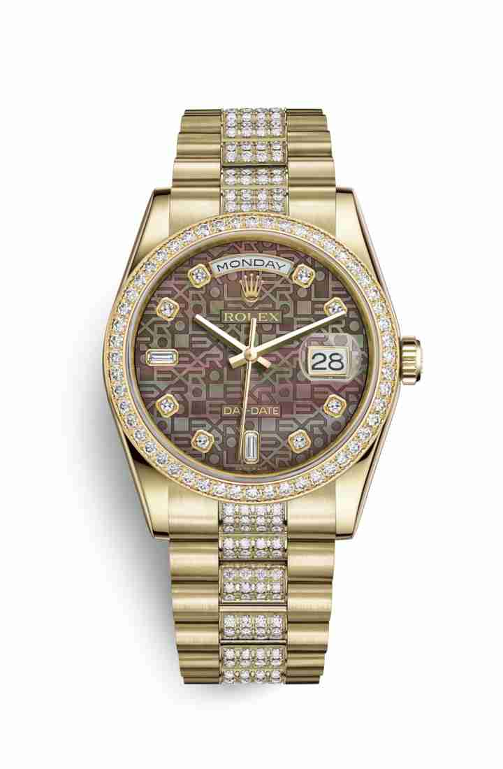Rolex Day-Date 36 118348 Black mother-of-pearl Jubilee diamonds Watch Replica