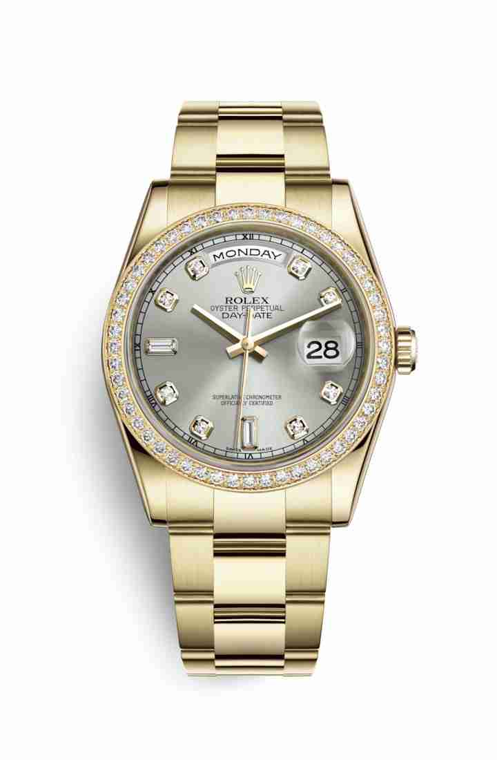 Rolex Day-Date 36 118348 Silver diamonds Watch Replica