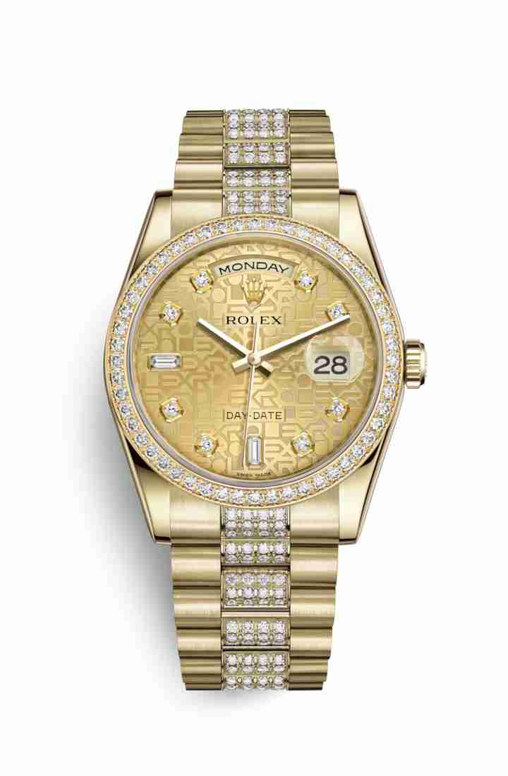 Rolex Day-Date 36 118348 Champagne Jubilee diamonds Watch Replica