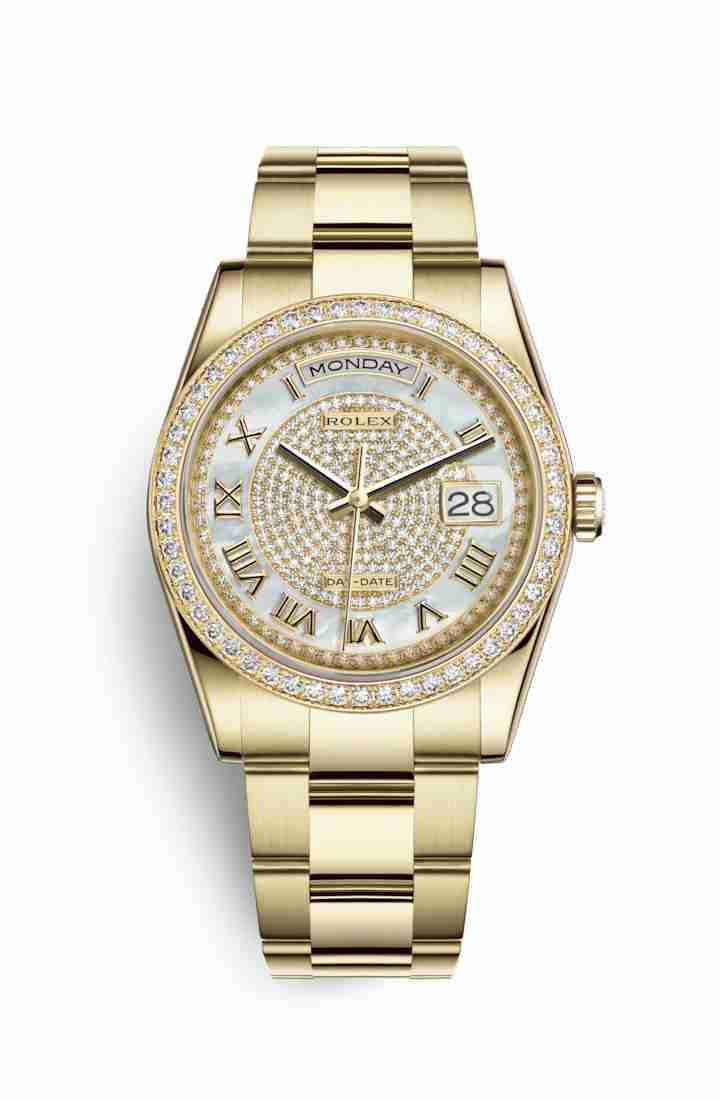 Rolex Day-Date 36 118348 White mother-of-pearl diamond paved Dial Watch Replica