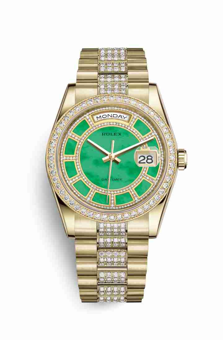 Rolex Day-Date 36 118348 Carousel of green jade Dial Watch Replica