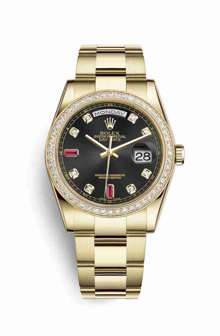 Rolex Day-Date 36 118348 Black diamonds rubies Dial Watch Replica
