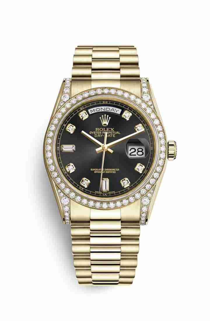 Rolex Day-Date 36 118388 Black diamonds Watch Replica