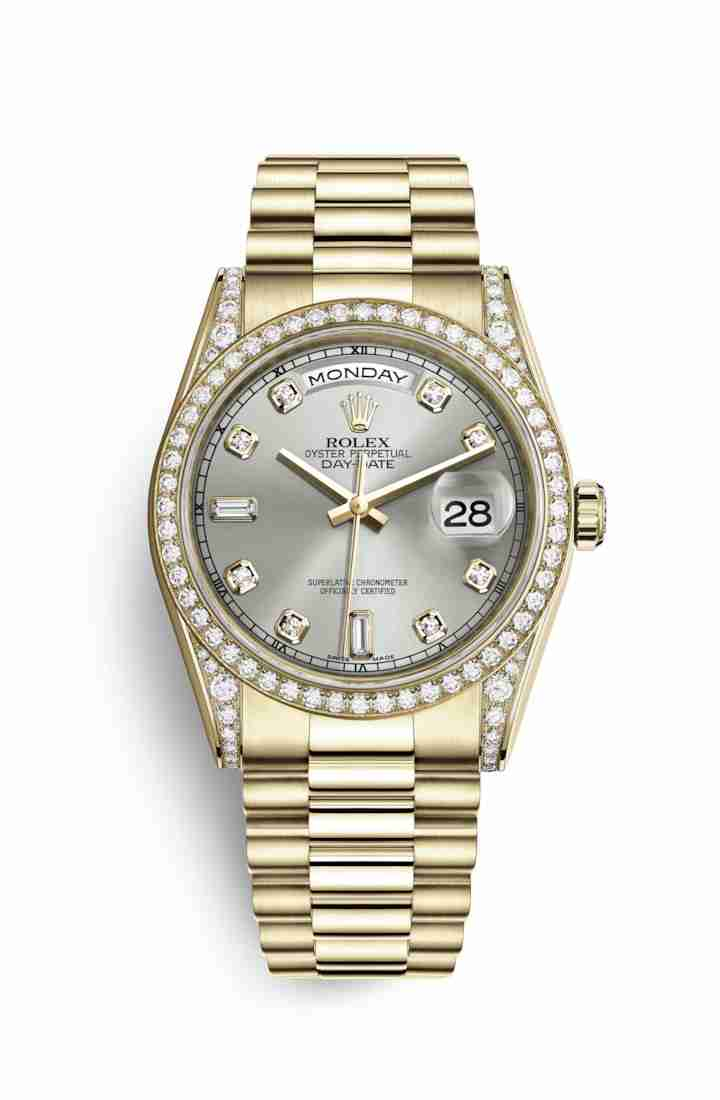 Rolex Day-Date 36 118388 Silver diamonds Watch Replica