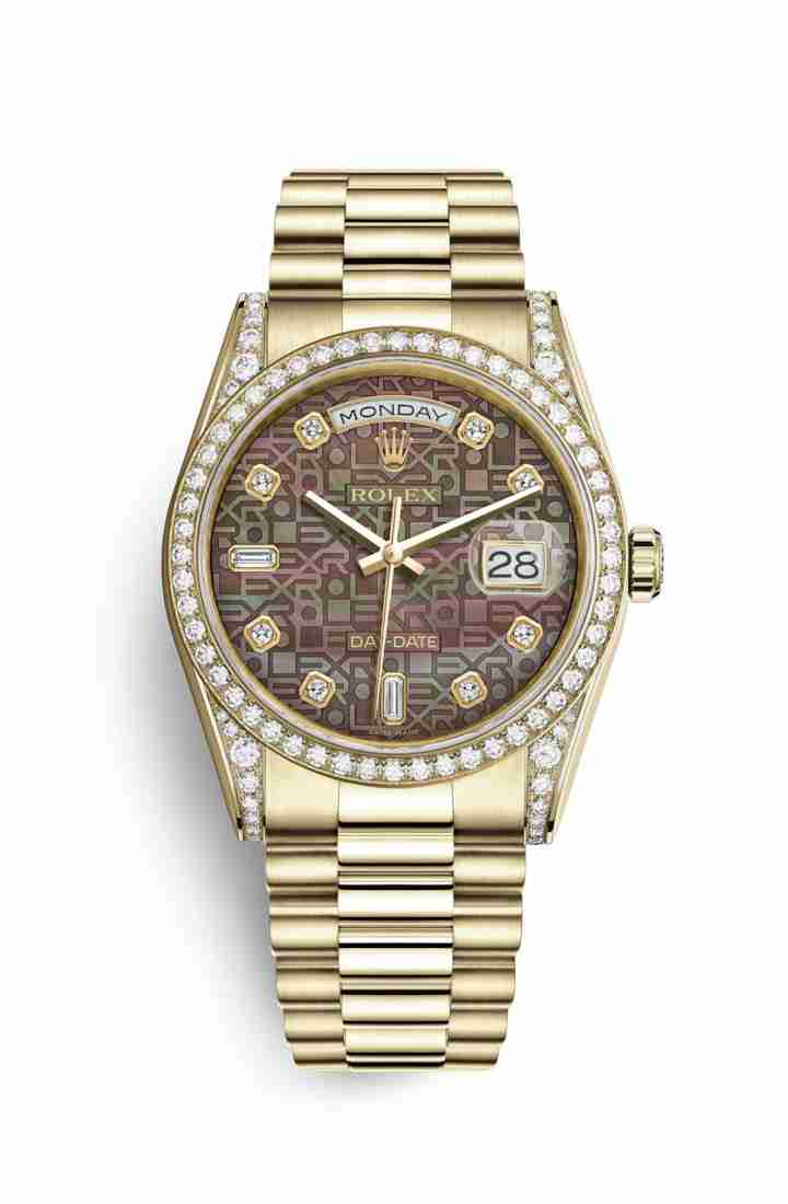 Rolex Day-Date 36 118388 Black mother-of-pearl Jubilee diamonds Watch Replica - Click Image to Close