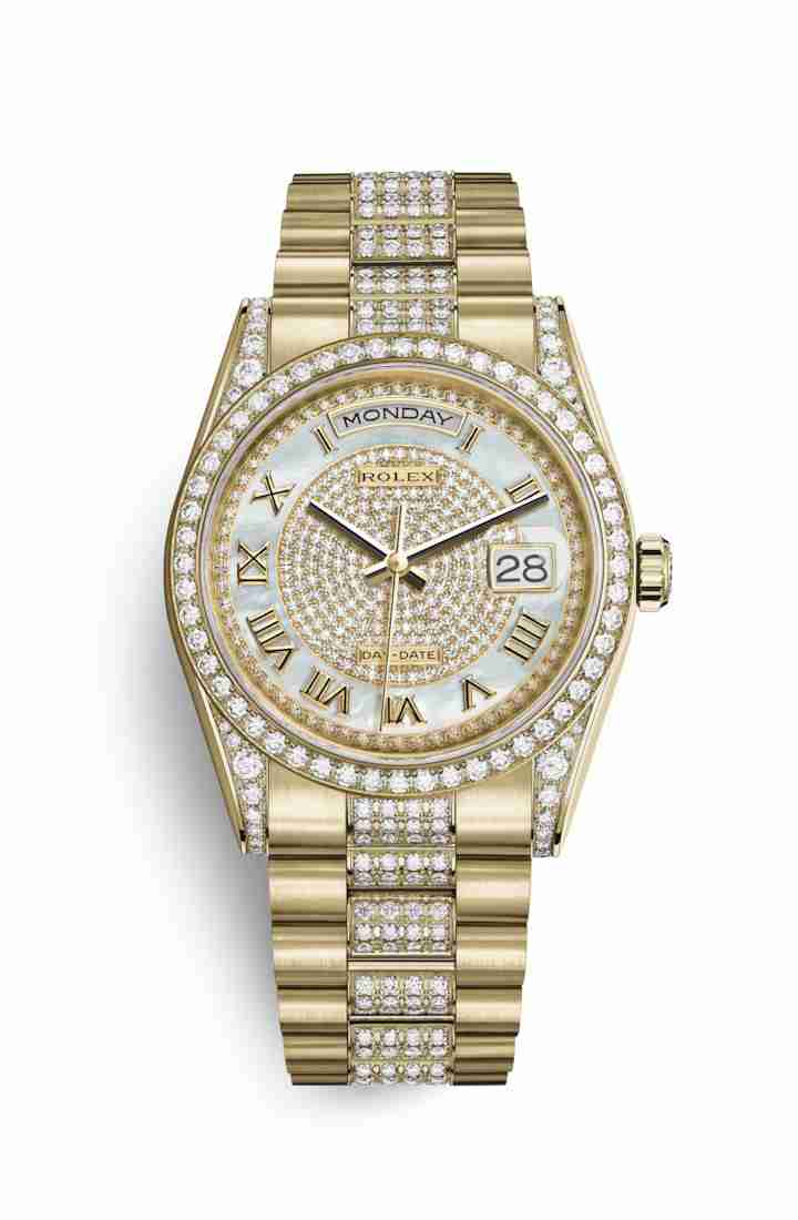 Rolex Day-Date 36 118388 White mother-of-pearl diamond paved Dial Watch Replica