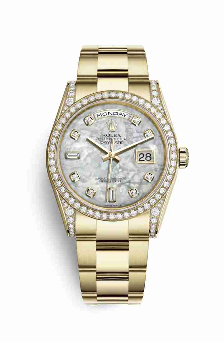 Rolex Day-Date 36 118388 White mother-of-pearl diamonds Watch Replica