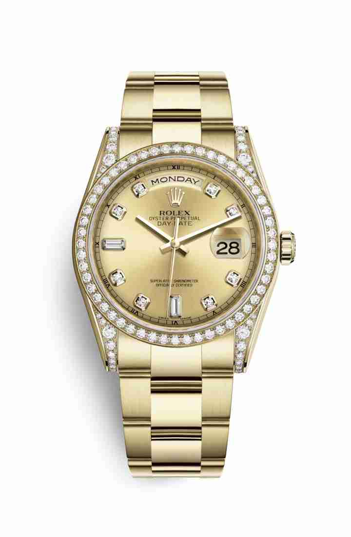 Rolex Day-Date 36 118388 Champagne diamonds Watch Replica