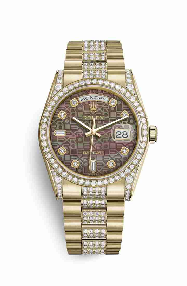 Rolex Day-Date 36 118388 Black mother-of-pearl Jubilee diamonds Watch Replica