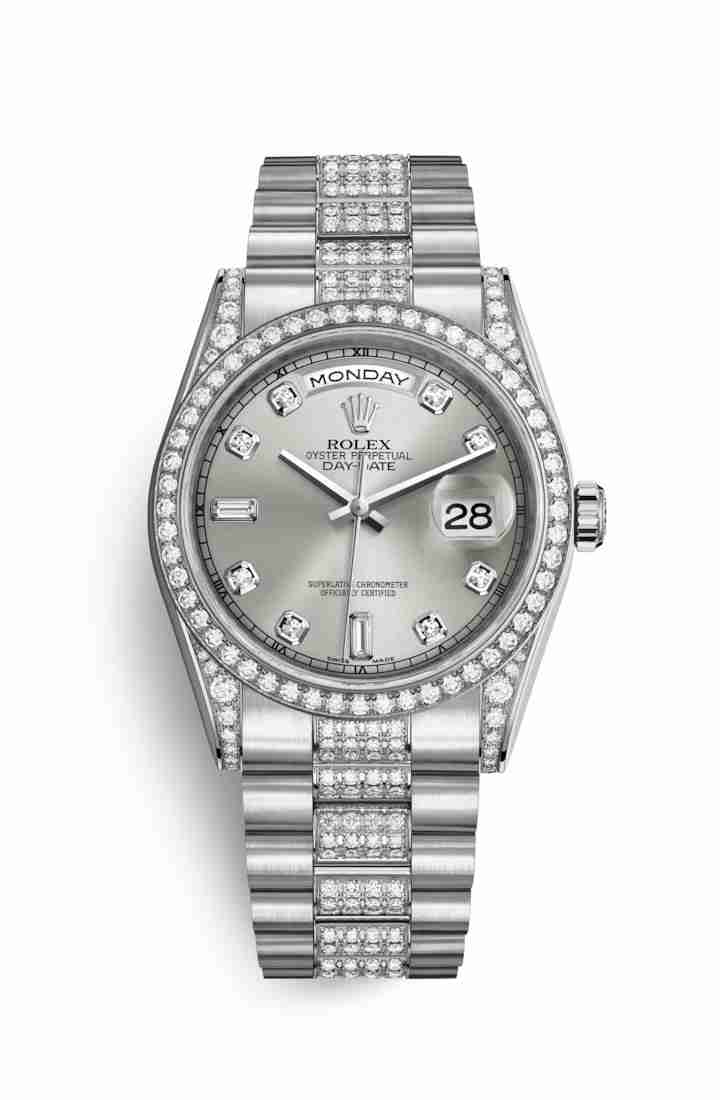 Rolex Day-Date 36 diamonds 118389 Silver diamonds Watch Replica