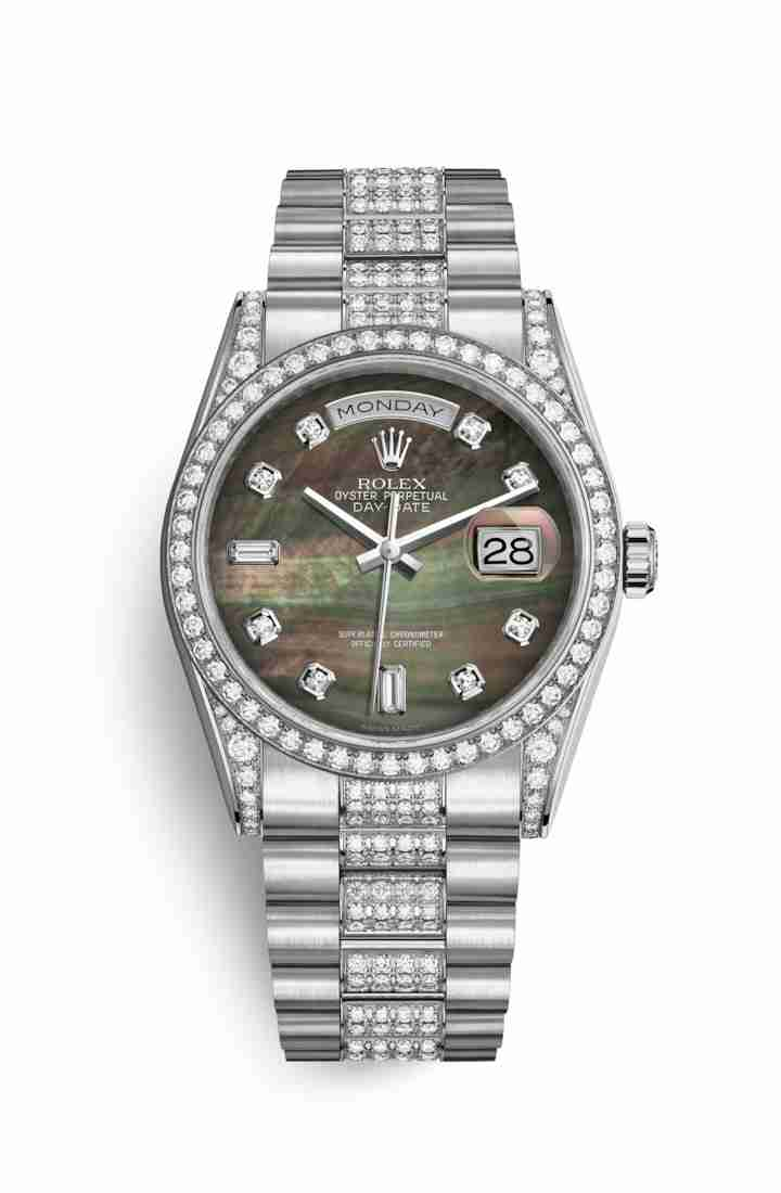 Rolex Day-Date 36 diamonds 118389 Black mother-of-pearl diamonds Watch Replica