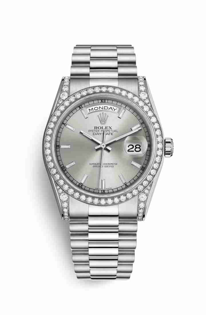 Rolex Day-Date 36 diamonds 118389 Silver Dial Watch Replica