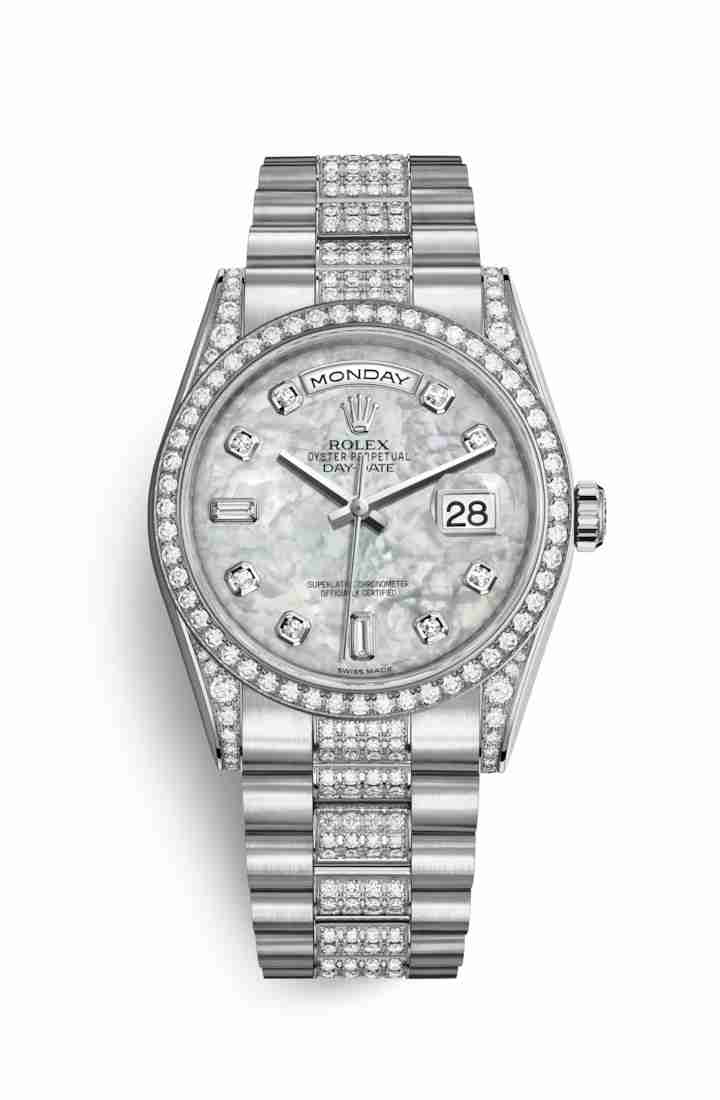 Rolex Day-Date 36 diamonds 118389 White mother-of-pearl diamonds Watch Replica - Click Image to Close