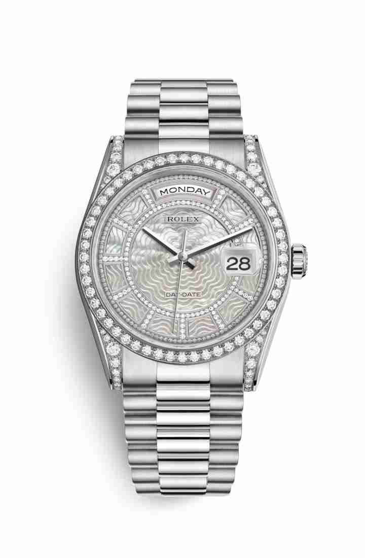Rolex Day-Date 36 diamonds 118389 Carousel of white mother-of-pearl Dial Watch Replica