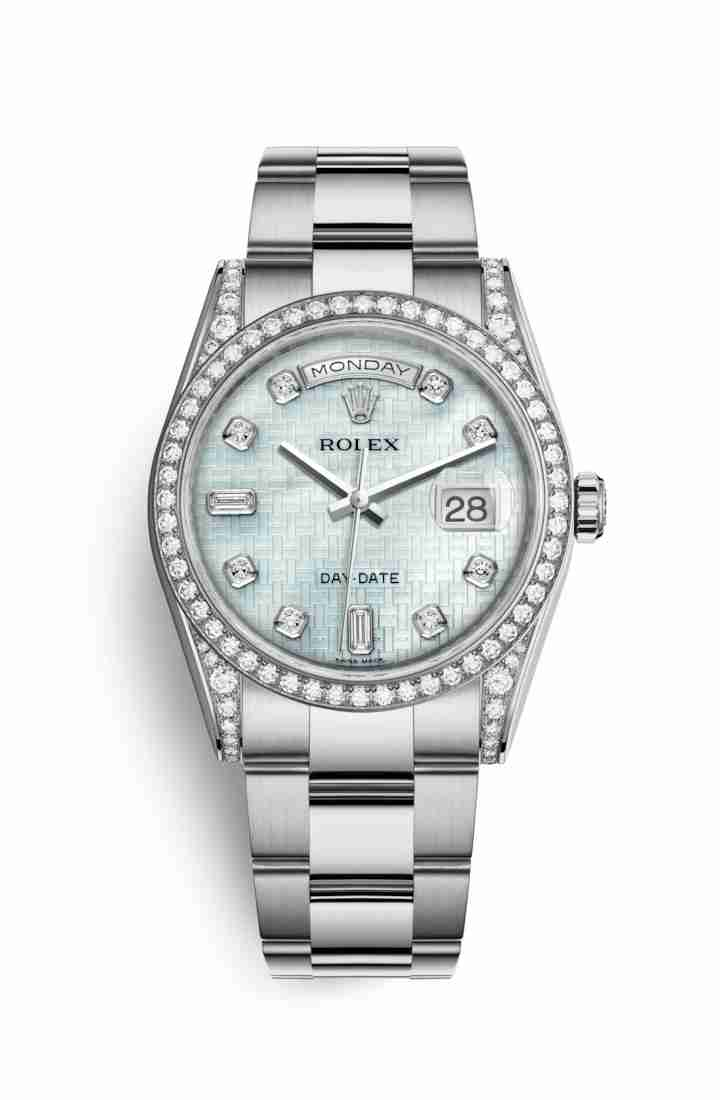 Rolex Day-Date 36 diamonds 118389 Platinum mother-of-pearl oxford motif diamonds Watch Replica