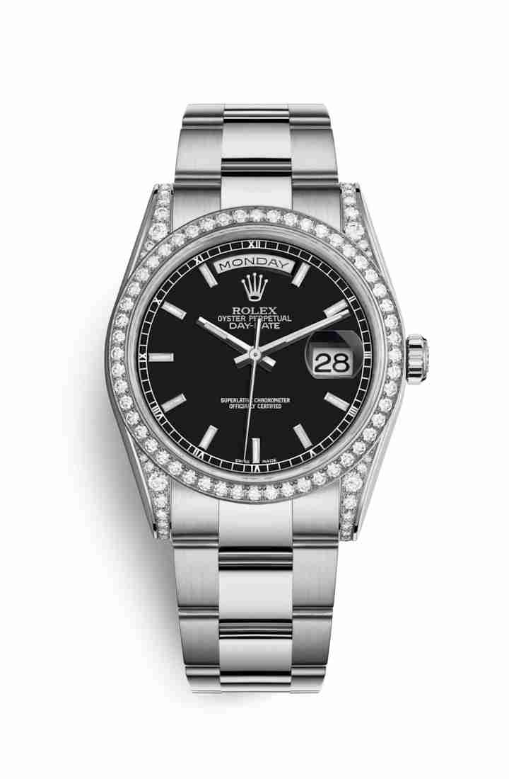Rolex Day-Date 36 diamonds 118389 Black Dial Watch Replica