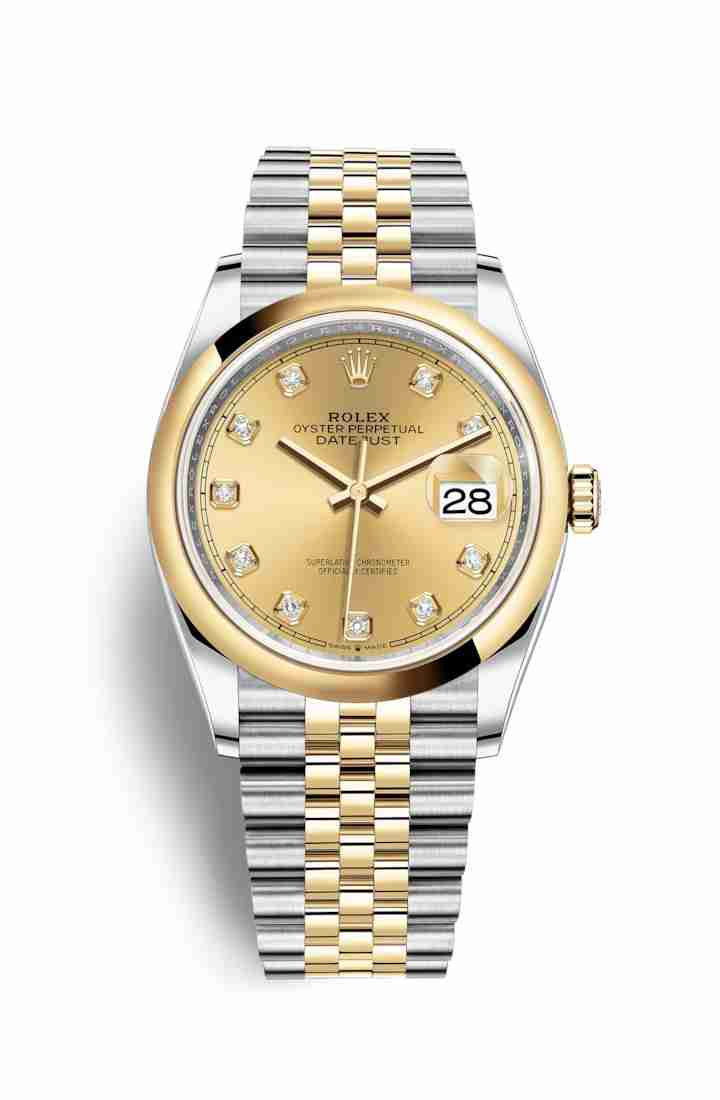 Rolex Datejust 36 Yellow 126203 Champagne diamonds Watch Replica