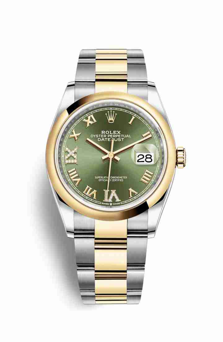 Rolex Datejust 36 Yellow 126203 Olive green diamonds Watch Replica