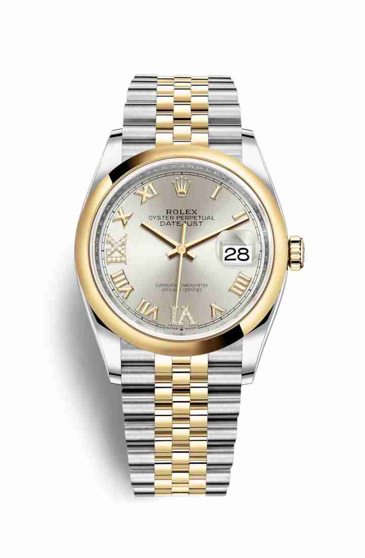 Rolex Datejust 36 Yellow 126203 Silver diamonds Watch Replica