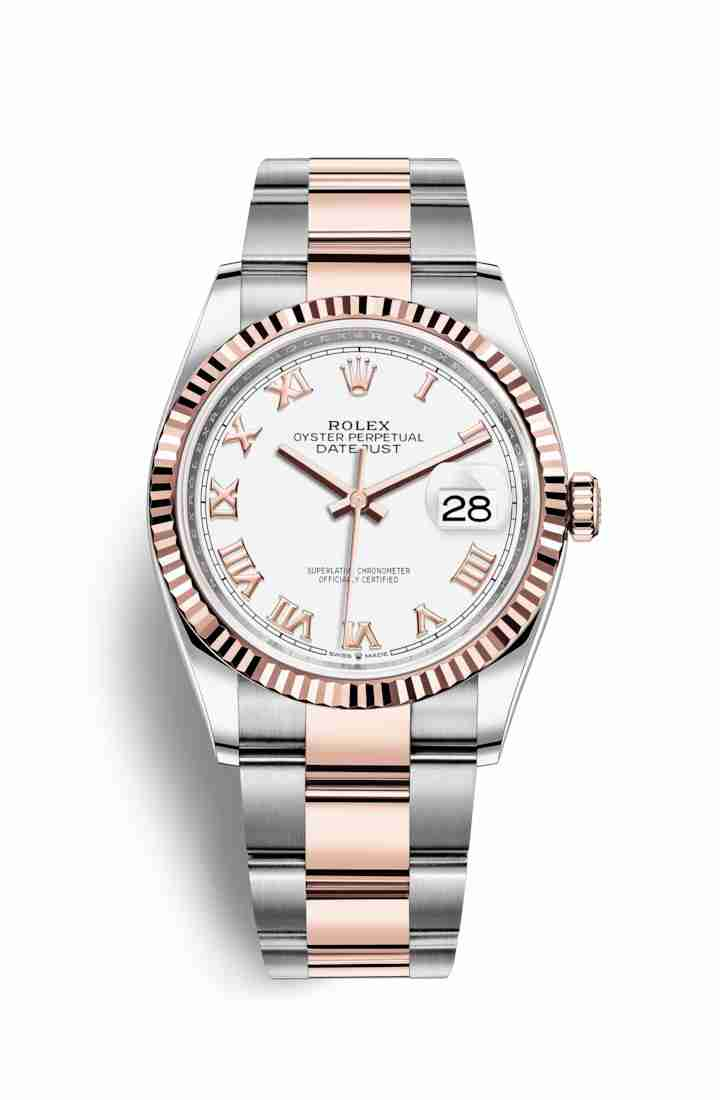 Rolex Datejust 36 Everose gold 126231 White Dial Watch Replica - Click Image to Close