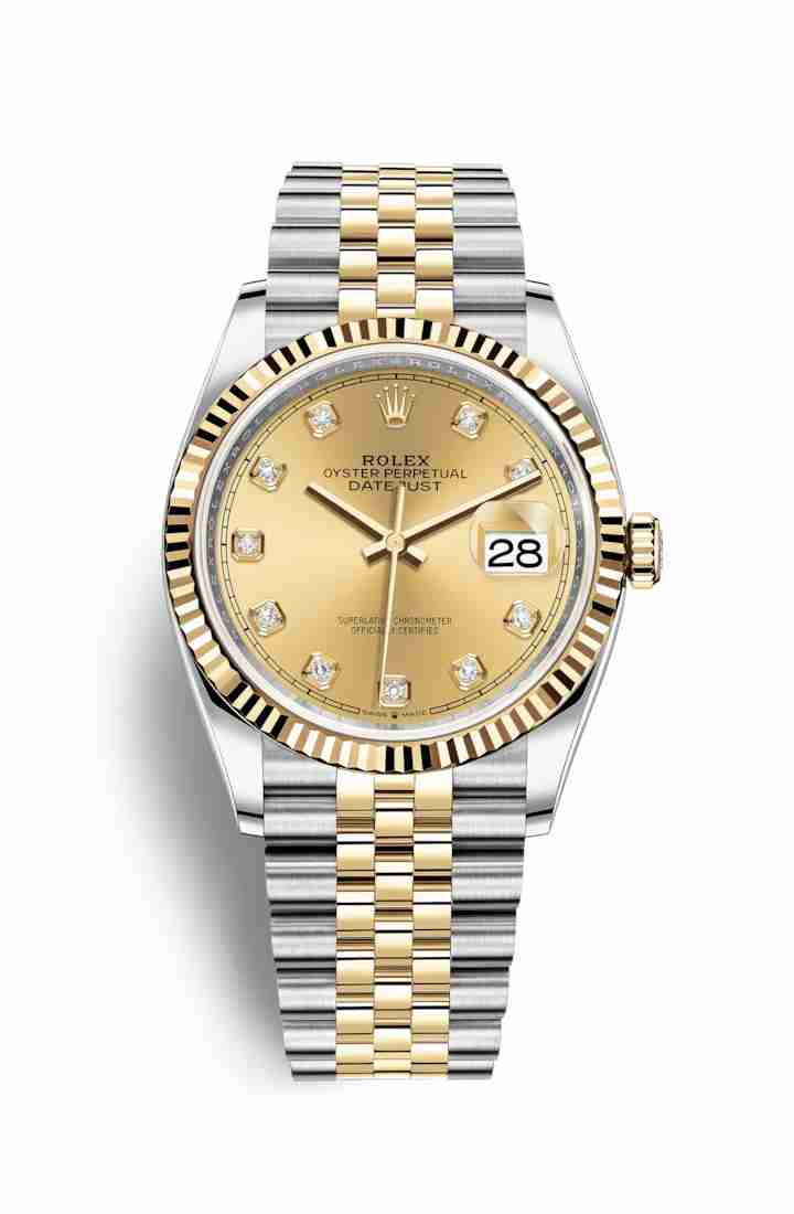 Rolex Datejust 36 Yellow 126233 Champagne diamonds Watch Replica