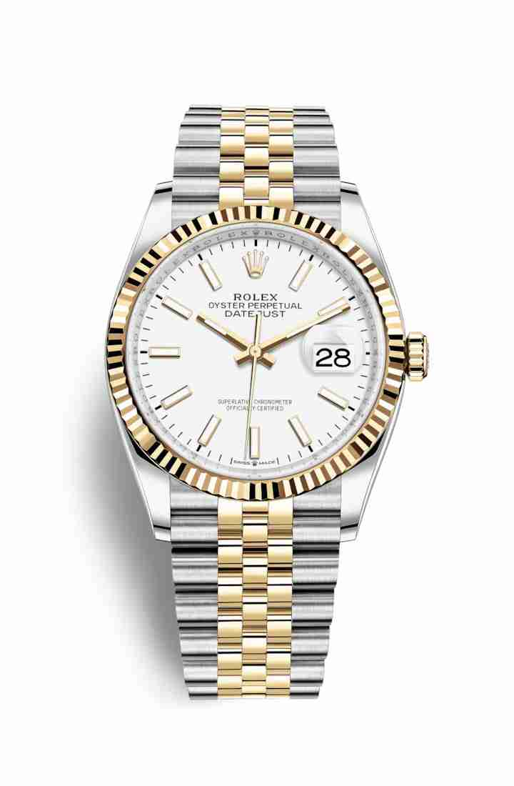 Rolex Datejust 36 Yellow 126233 White Dial Watch Replica