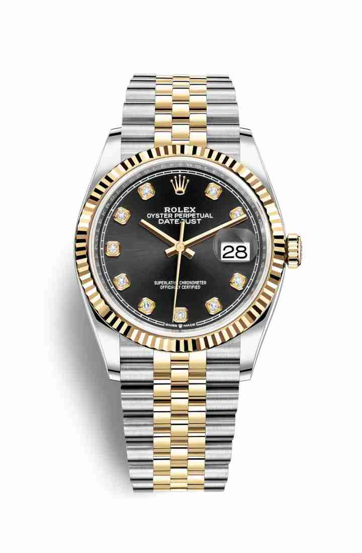 Rolex Datejust 36 Yellow 126233 Black diamonds Watch Replica