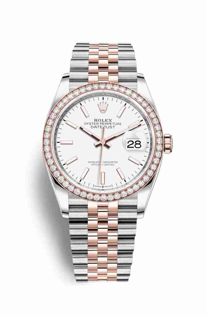 Rolex Datejust 36 Everose gold 126281RBR White Dial Watch Replica