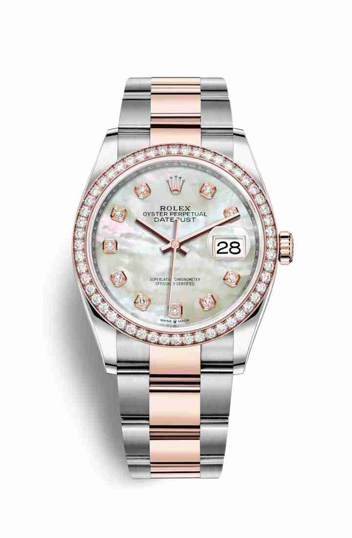 Rolex Datejust 36 Everose gold 126281RBR White mother-of-pearl diamonds Watch Replica