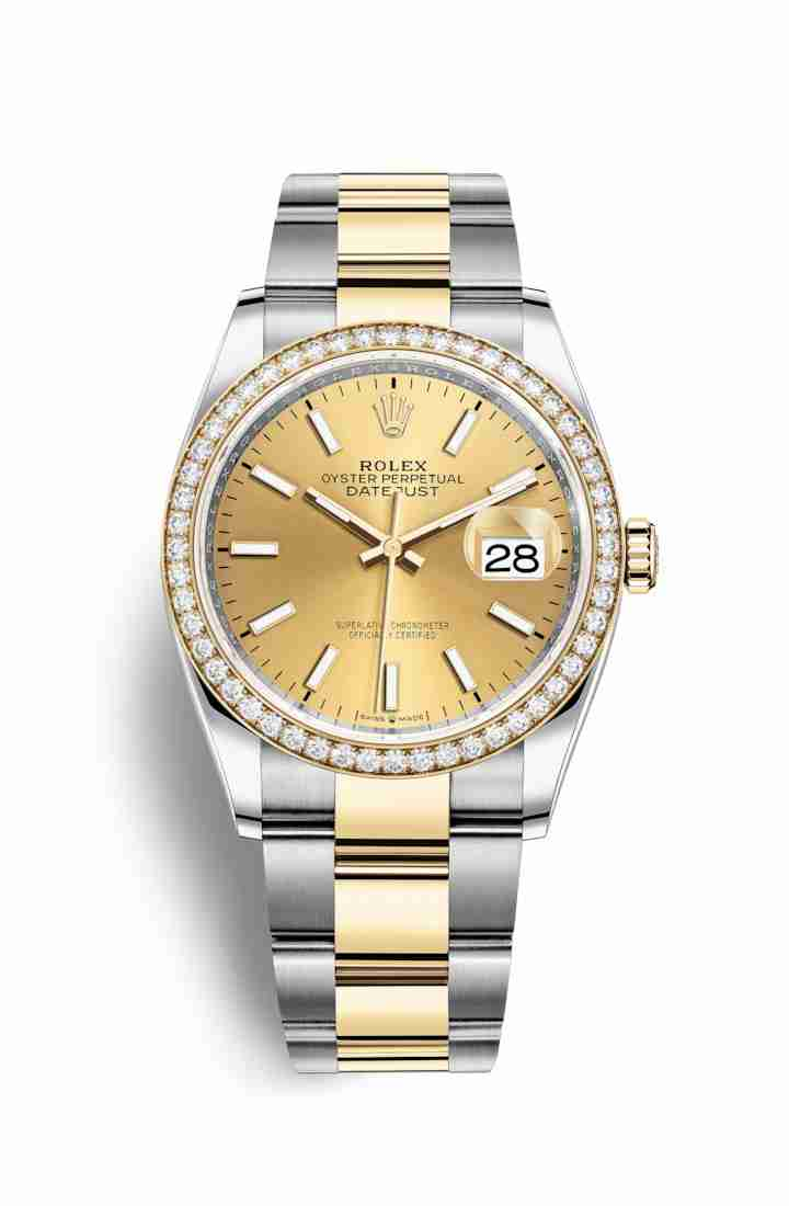Rolex Datejust 36 Yellow 126283RBR Champagne Dial Watch Replica