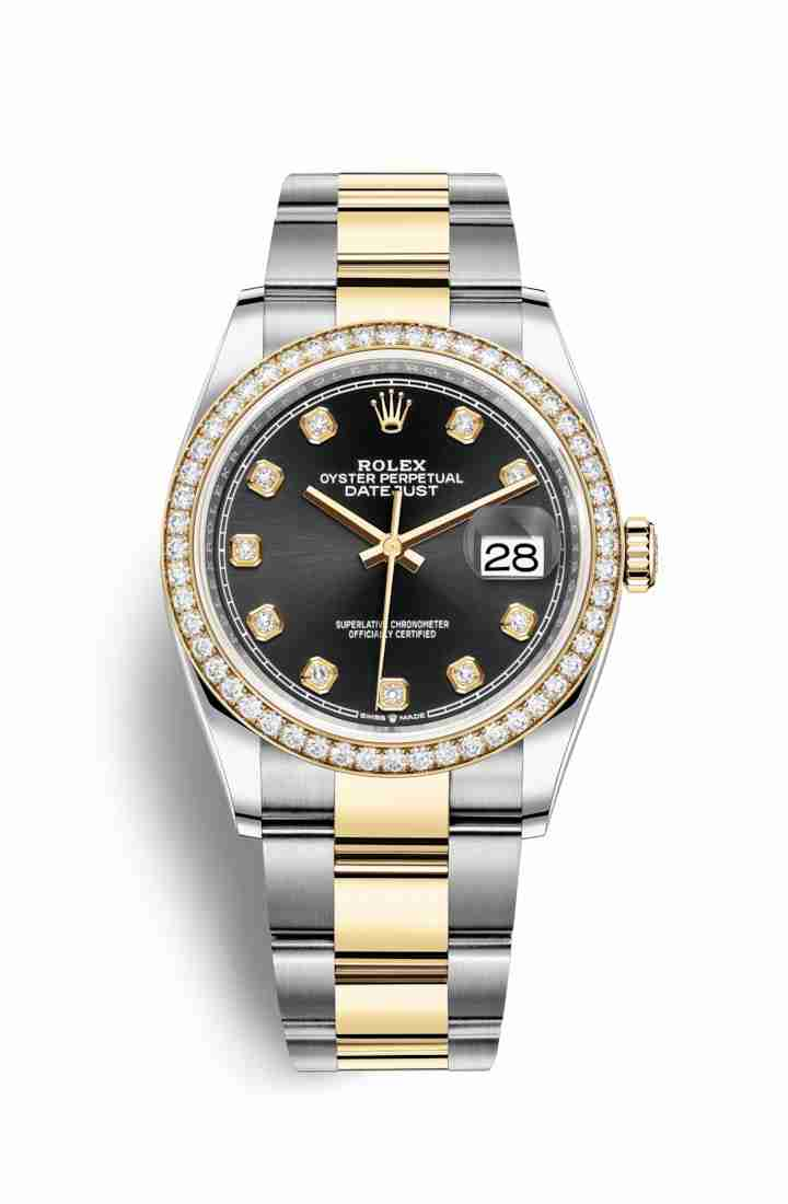 Rolex Datejust 36 Yellow 126283RBR Black diamonds Watch Replica