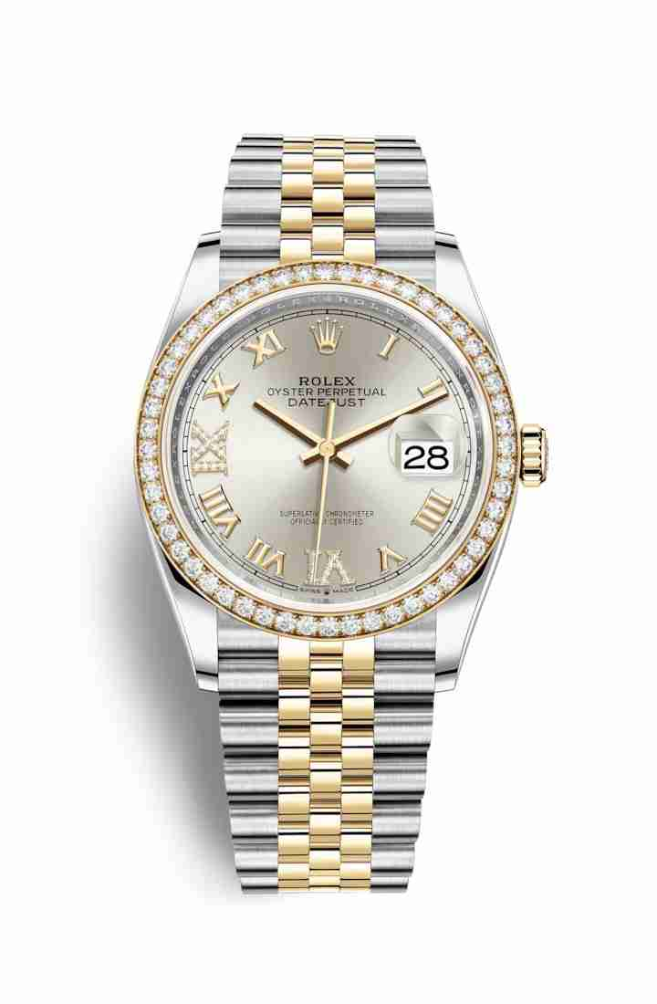 Rolex Datejust 36 Yellow 126283RBR Silver diamonds Watch Replica
