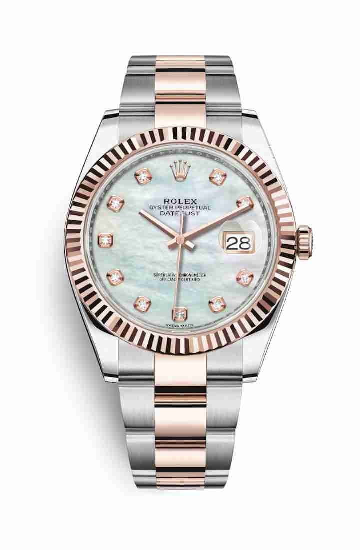 Rolex Datejust 41 Everose gold 126331 White mother-of-pearl diamonds Watch Replica