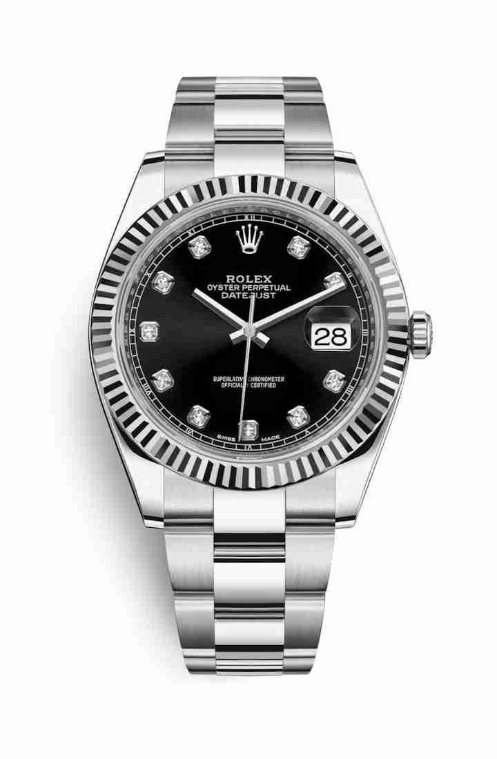 Rolex Datejust 41 White gold 126334 Black diamonds Watch Replica